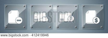 Set Finance Document, Unknown Document Folder, Cloud Storage Text Document Folder And Document With