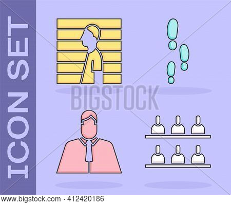 Set Jurors, Suspect Criminal, Lawyer, Attorney, Jurist And Footsteps Icon. Vector