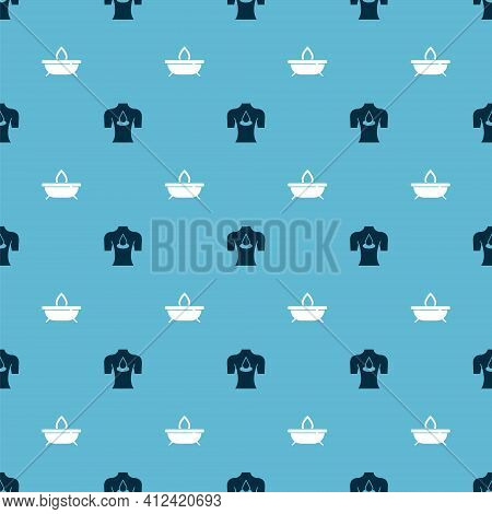 Set Massage With Aroma Oils And Aroma Candle On Seamless Pattern. Vector