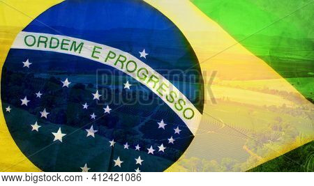 Brazil Flag Double Exposure To Coffee. Agriculture Concept Farm Field Coffee Sprouts Beans. Space Fo
