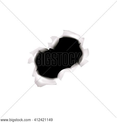 Bullet Holes Target Realistic Composition On Blank Background With Isolated Image Of Three Bullet Sp