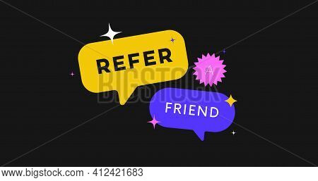 Refer A Friend Vector Banner. Referral System.