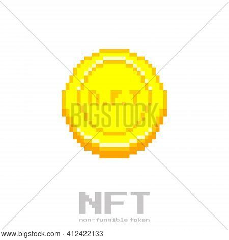 Colorful Simple Flat Pixel Art Illustration Of Gold Coin Engraved With The Abbreviation Nft On It