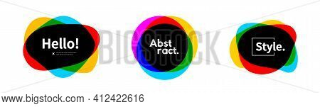 Set Of Abstract Overlapped Colorful Geometric Shapes. Modern Template For Logo And Banner.