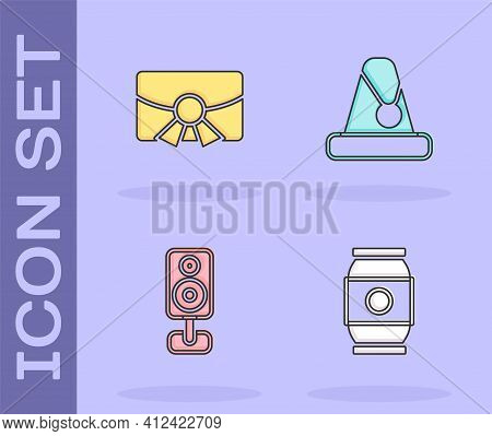 Set Beer Can, Christmas Postcard, Stereo Speaker And Santa Claus Hat Icon. Vector