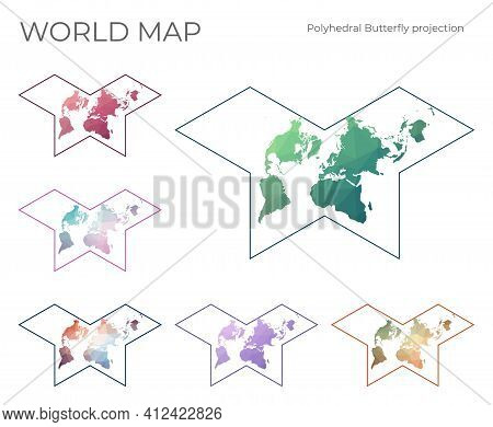 Low Poly World Map Set. Gnomonic Butterfly Projection. Collection Of The World Maps In Geometric Sty