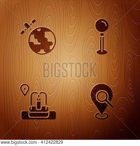 Set Search Location, Satellites Orbiting The Planet, Location With Fountain And Push Pin On Wooden B