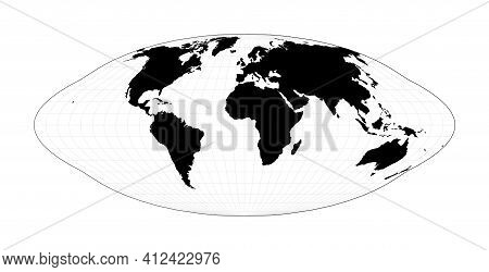 Minimal World Map. Pseudocylindrical Equal-area Goode Homolosine Projection. Plan World Geographical