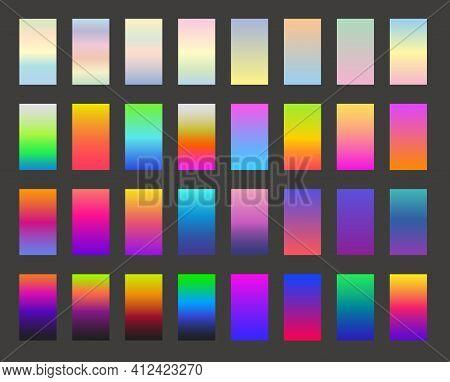 Modern Screen Vector Design For Mobile App. Bright Colorful Gradient Backgrounds. Light Color Backdr