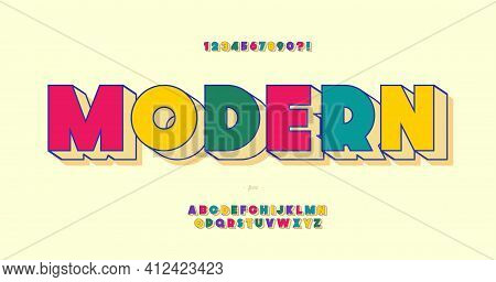 Vector Modern Font 3d Bold Color Style Modern Typography For T Shirt, Game, Book, Racing, Infographi