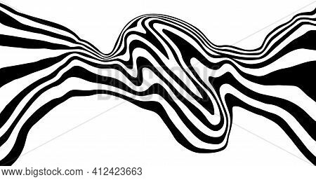 Optical Illusion Distorted Wave. Abstract Horizontal Stripes Vector Design. Surreal Pattern.