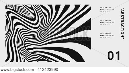 Abstract Op Art Background. Striped Pattern Vector Design.