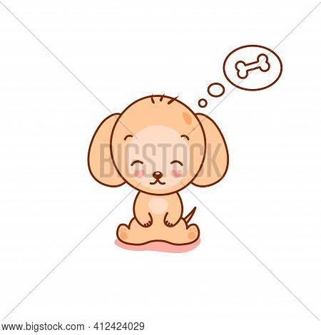 Little Kawaii Doggy On White Back Ground. Great Cartoon Pet Character For Your Design.