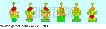 Et Of Appetizers Cartoon Icon Design Template With Various Models. Modern Vector Illustration Isolat
