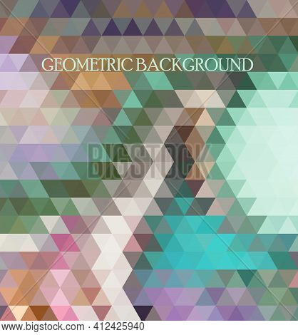 Retro Pattern Of Geometric Shapes. Colorful Mosaic Banner. Geometric Hipster Retro Background With P