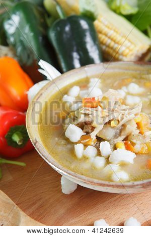Single serving of chicken posole stew