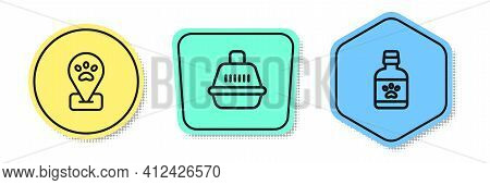 Set Line Location Pet Grooming, Pet Carry Case And Dog Medicine Bottle. Colored Shapes. Vector