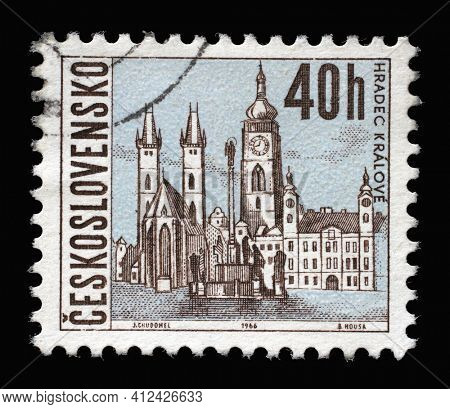 ZAGREB, CROATIA - SEPTEMBER 18, 2014: Stamp printed in Czechoslovakia shows Hradec Kralove, Czechoslovak cities series, circa 1966
