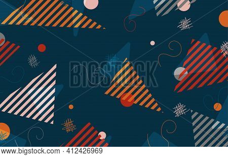 Abstract Doodle Design Of Geometric Pattern Template. Overlapping With Free Style Elements Artwork B
