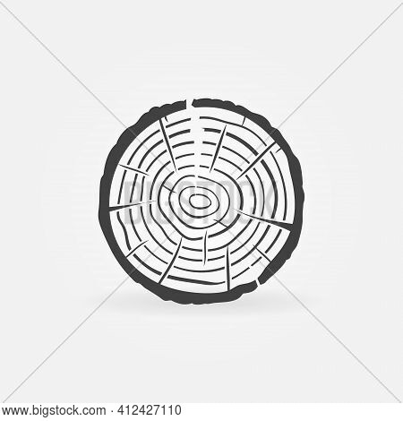 Trunk Cross-section Icon. Tree Growth Rings Vector Symbol