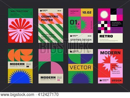 Modern Aesthetics Posters Collection. Swiss Design Pattern Vector Design. Mimimal Geometric Placards