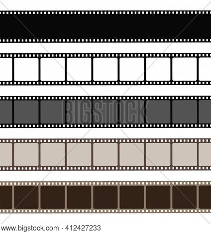 Set Film Strip Isolated On White Background. Old Retro Film Strip Frame. Vector Stock