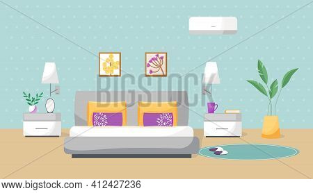 Vector Illustration Of A Bedroom. The Interior Is Painted In Flat Style. Cozy Room With A Comfortabl
