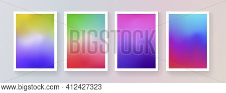 Set Of Soft Color Background Vector Design. Abstract Colorful Gradient Backdrops Collection. Modern