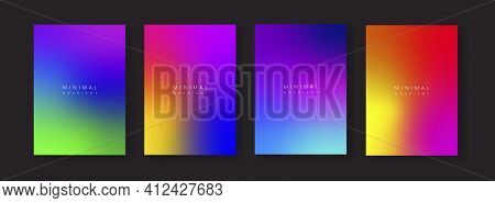 Abstract Colorful Gradient Backgrounds. Trendy Modern Fluid Posters Collection  A4 Size Blurred Colo
