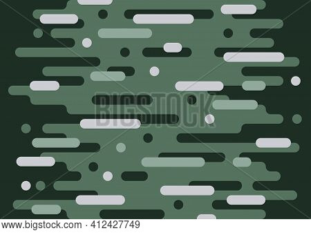 Abstract Green Rounded Lines Minimal Style Of Pattern Template. Overlapping Of Geometric Style Artwo