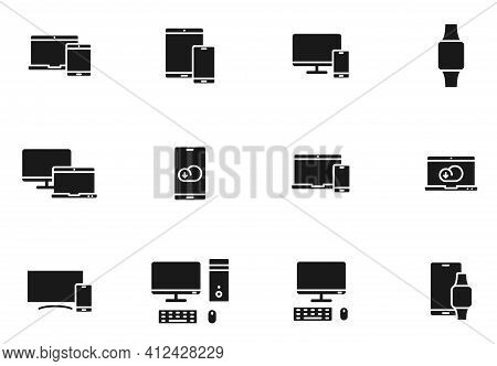 Smart Devices Glyph Vector Icons Isolated On White. Smart Devices Icon Set For Web Design, Mobile Ap