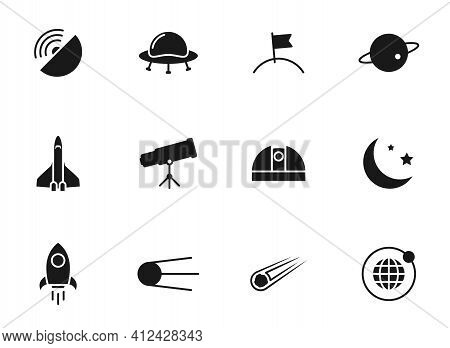 Space Glyph Vector Icons Isolated On White. Space Icon Set For Web Design, Mobile App, User Interfac