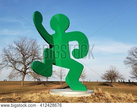Chicago, Il March 9th, Keith Haring: Self Portrait Green Person Monument, At The Aids Garden, Chicag