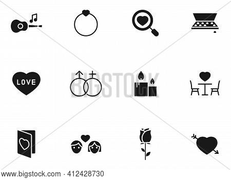 Valentine Day Silhouette Vector Icons Isolated On White. Valentine Day Icon Set For Web, Mobile Apps