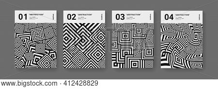 Minimal Abstract Geometric Posters Set. Optical Illusion Pattern With Squares Vector Design. Cool Mo