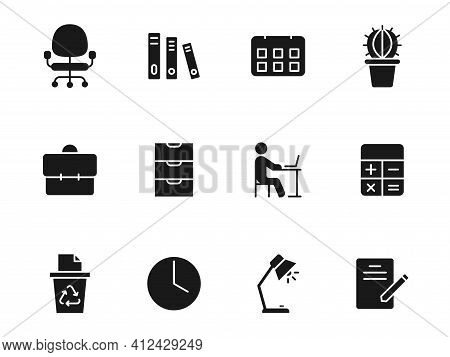 Workspace Silhouette Vector Icons Isolated On White. Workspace Icon Set For Web, Mobile Apps, Ui Des
