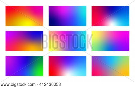 Colorful Fluid Gradients Set. Modern Abstract Backgrounds. Minimal Vibrant Pattern.
