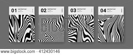 Minimal Abstract Optical Illusion Stripped Posters Set. Modern Pattern Futuristic Design. Cool Monoc