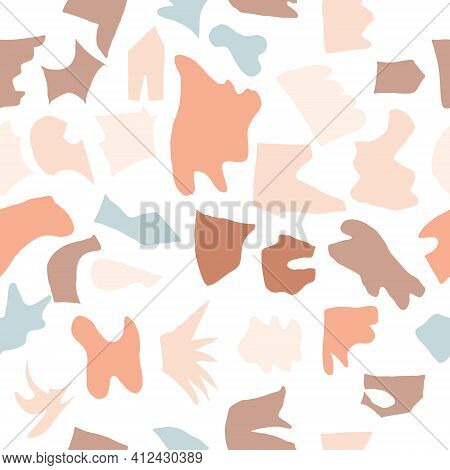 Seamless Abstract Pattern With Shapes, Scraps Of Paper