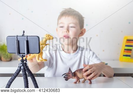 Happy Little Boy (preschooler) Blogger Recording Live Video Streaming On Smartphone. Online Unboxing