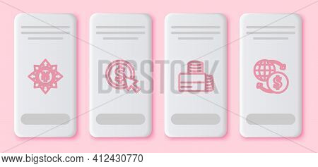 Set Line Coin Money With Yen, Dollar, Credit Card And Money Exchange. White Rectangle Button. Vector