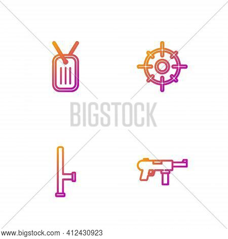 Set Line Submachine Gun M3, Police Rubber Baton, Military Dog Tag And Target Sport. Gradient Color I
