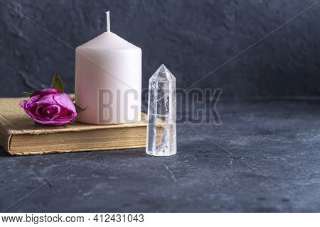 Magic Vintage Still Life With Crystals, Pink Candle And Rose Flowers. Meditation Reiki. Ritual For L