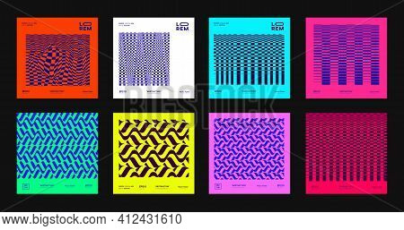 Set Of Abstract Modern Patterns. Collection Of Geometric Futuristic Designs. Cool Bright Posters. Mi