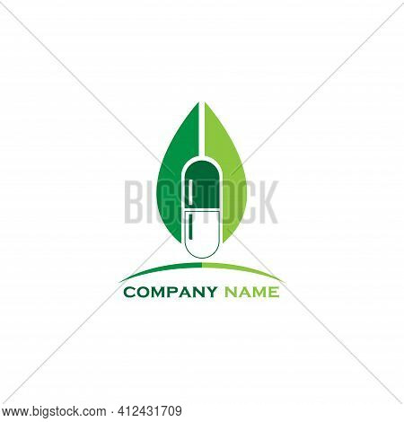 Capsule Medicine Design Logo Vector. Illustration Capsule Medicine Design Logo Vector