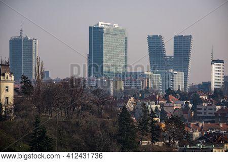Prague, Czech Republic - February 24, 2021. Complex Of City Tower In Pankrac - Dominant Of Skyscrape