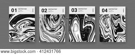 Set Of Futuristic Covers. Modern Swiss Design Posters Set. Monochrome Liquid Texture Vector Design.