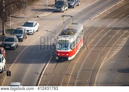 Prague, Czech Republic - February 24, 2021. Typical Red Tramway T3r.p With Number 8456 Going On The