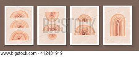 Set Of Abstract Minimalistic Geometric Pattern Cover Design. Mid-century Modern Posters. Modern Temp