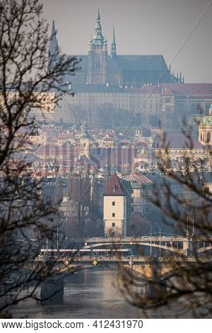 View On Prague Castle Of Vysehrad Area In Winter Inversion